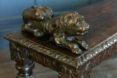 English Oak Hand carved bench settle with Recumbent carved lions - 1973847