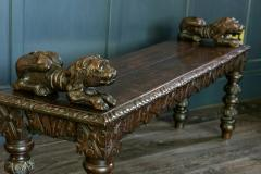 English Oak Hand carved bench settle with Recumbent carved lions - 1973848