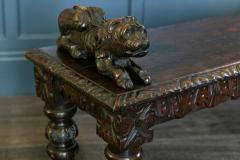 English Oak Hand carved bench settle with Recumbent carved lions - 1973850