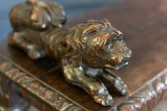 English Oak Hand carved bench settle with Recumbent carved lions - 1973852