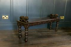 English Oak Hand carved bench settle with Recumbent carved lions - 1973853