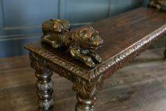 English Oak Hand carved bench settle with Recumbent carved lions - 1973854