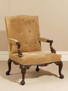 English Pair of Chippendale Period Library Gainsborough Chairs by Paul Saunders - 1311277