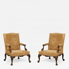 English Pair of Chippendale Period Library Gainsborough Chairs by Paul Saunders - 1312913