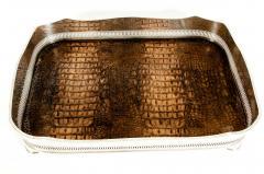 English Plated High Bordered Frame Crocodile Interior Barware Tray - 1131119