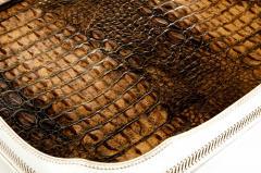 English Plated High Bordered Frame Crocodile Interior Barware Tray - 1131121