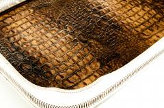 English Plated High Bordered Frame Crocodile Interior Barware Tray - 1131122