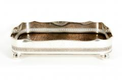 English Plated High Bordered Frame Crocodile Interior Barware Tray - 1131123
