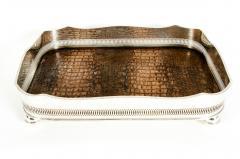 English Plated High Bordered Frame Crocodile Interior Barware Tray - 1131124