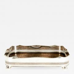 English Plated High Bordered Frame Crocodile Interior Barware Tray - 1132297
