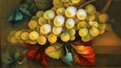 English Porcelain Still Life Plaque Depicting Green Grapes on a Table Top - 1619216