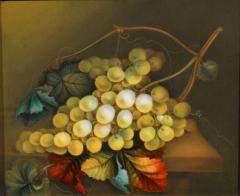 English Porcelain Still Life Plaque Depicting Green Grapes on a Table Top - 1619217