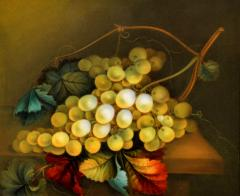 English Porcelain Still Life Plaque Depicting Green Grapes on a Table Top - 1619268