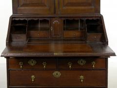 English Queen Anne Style Oak Antique Secretary Desk w Bookcase - 1115499