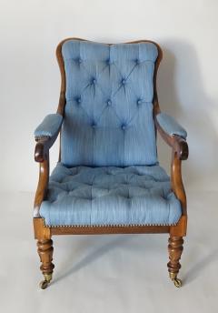 English Regency Solid Walnut Library Chair - 1806092