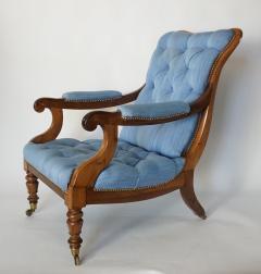 English Regency Solid Walnut Library Chair - 1806093