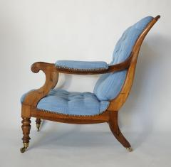 English Regency Solid Walnut Library Chair - 1806095