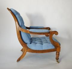 English Regency Solid Walnut Library Chair - 1806096