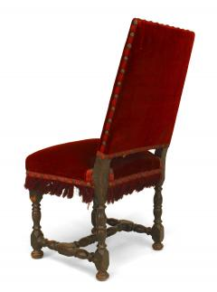 English Renaissance Red Velvet Side Chair - 1419823