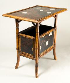 English Table with Lacquer Japanning Eggshell Design and Bamboo - 1564248