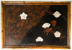 English Table with Lacquer Japanning Eggshell Design and Bamboo - 1564251