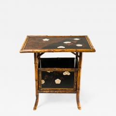 English Table with Lacquer Japanning Eggshell Design and Bamboo - 1565251