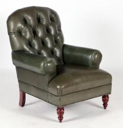 English Tufted Leather Side Chair - 2071349