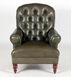 English Tufted Leather Side Chair - 2071350
