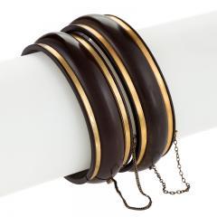 English Victorian Gutta Percha Pair of Bracelets - 120271