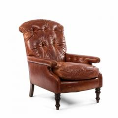 English Victorian Leather Easy Chair - 1404213