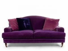 English Victorian Purple Velvet Loveseat - 1419408