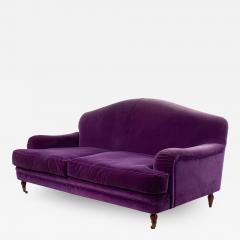 English Victorian Purple Velvet Loveseat - 1421388