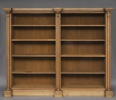English William IV Bleached Oak Library Breakfronted Open Bookcase - 102722