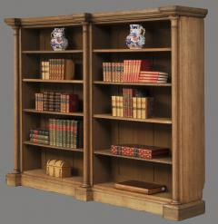English William IV Bleached Oak Library Breakfronted Open Bookcase - 102723