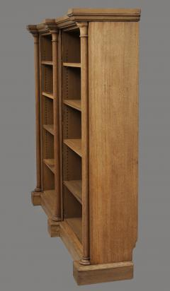 English William IV Bleached Oak Library Breakfronted Open Bookcase - 102724