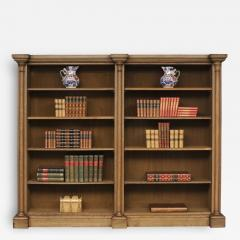 English William IV Bleached Oak Library Breakfronted Open Bookcase - 107316