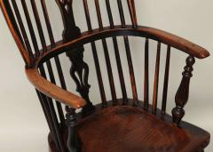 English Yew Wood Hoop Back Windsor Armchair - 627286