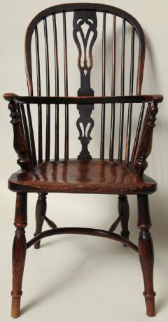English Yew Wood Hoop Back Windsor Armchair - 627290