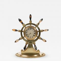 English gilt metal clock in the form of a ships wheel - 900237