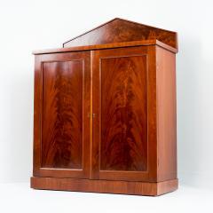 English two door mahogany server with pedimented back splash - 1714503