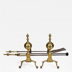 Engraved New York Andirons With Matching Tools - 612522