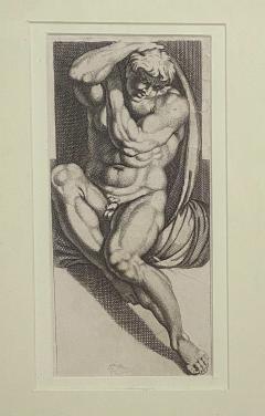 Engraving of An Atlas Figure Italy Circa 1600 - 1461436