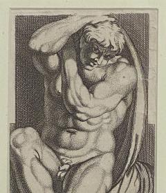 Engraving of An Atlas Figure Italy Circa 1600 - 1461437