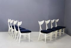 Ennio Canino Set of eight chairs MidCentury by Ennio Canino in white and blue Published 1954 - 1420780