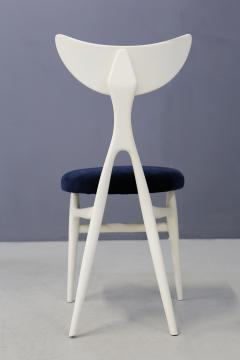 Ennio Canino Set of eight chairs MidCentury by Ennio Canino in white and blue Published 1954 - 1420785