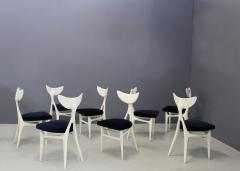 Ennio Canino Set of eight chairs MidCentury by Ennio Canino in white and blue Published 1954 - 1420788