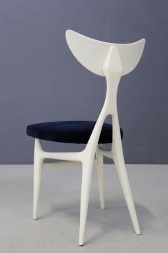 Ennio Canino Set of eight chairs MidCentury by Ennio Canino in white and blue Published 1954 - 1420789