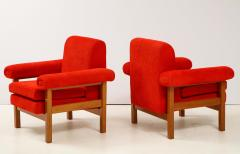 Erberto Carboni Pair of Oak Upholstered Armchairs by Erberto Carboni - 1812924