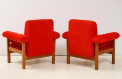Erberto Carboni Pair of Oak Upholstered Armchairs by Erberto Carboni - 1812926