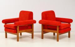 Erberto Carboni Pair of Oak Upholstered Armchairs by Erberto Carboni - 1812927